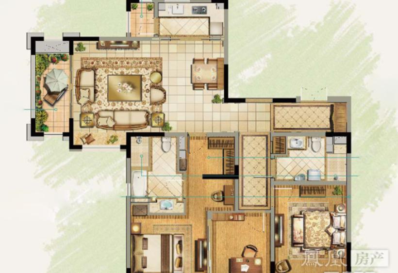 户型名称: a户型160平3室2厅2卫 户型分布: 3室2厅2卫 户型面积: 16
