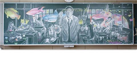 手机的利与弊黑板报-日本举办学生板报大赛 看过作品你会献上膝盖图片