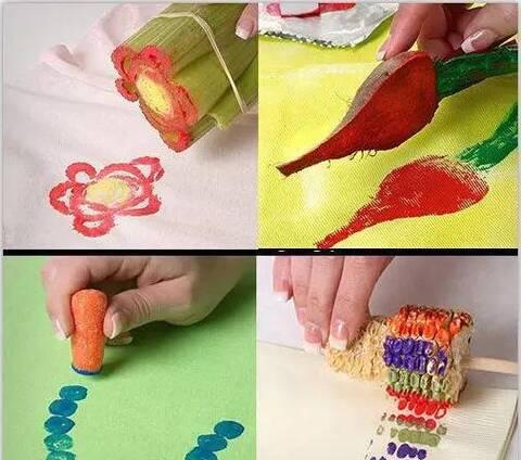 亲子手工 神奇有趣的水果蔬菜拓印画