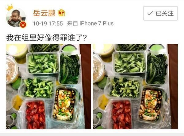 岳云鹏晒剧组盒饭 一片绿色引发网友奇葩评论(图)