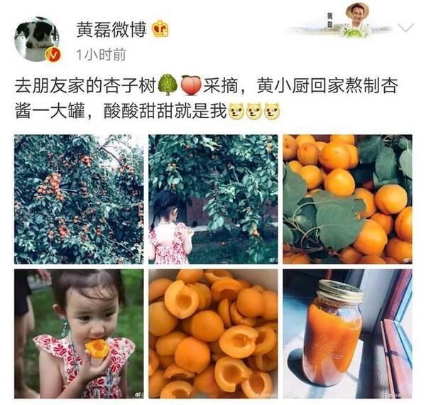 黄磊带小女儿吃杏 吃货妹妹穿得好仙耳坠项链抢镜