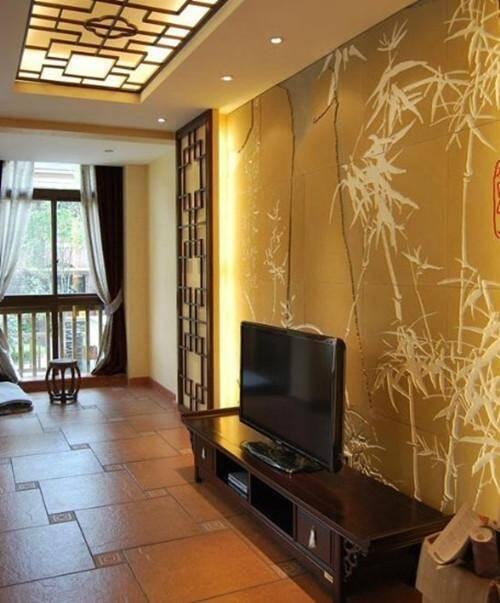 2017现代中式电视背景墙效果图欣赏