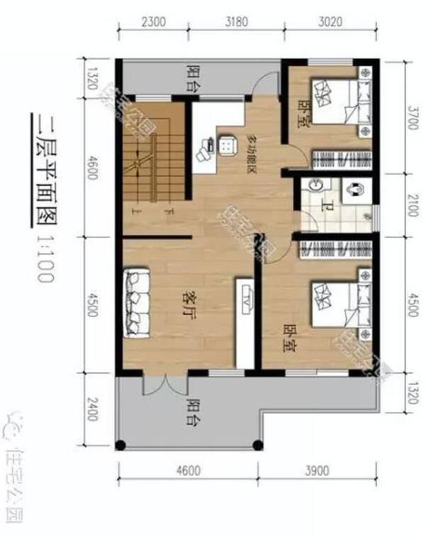 没有露台的自建房,最好像这样在2楼3楼的全部南向都设置阳台,北边有
