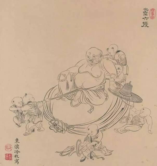 乾隆皇帝喜爱的画家:清代冷枚《白描罗汉图二十帧》