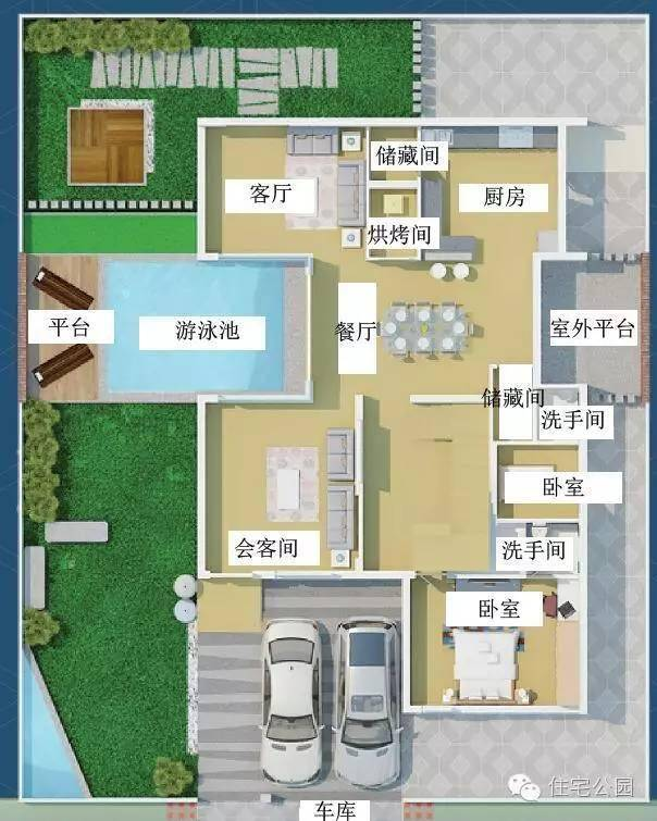 农村自建房 带游泳池就能秒别墅 含平面图
