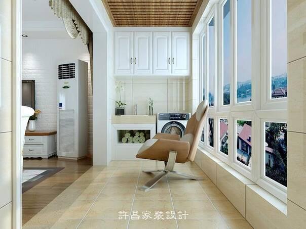 阳台采用白色阳台柜,原木色生态木吊顶