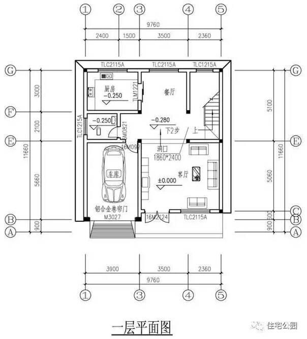 新农村四层自建房占地10x12米,带车库含平面图