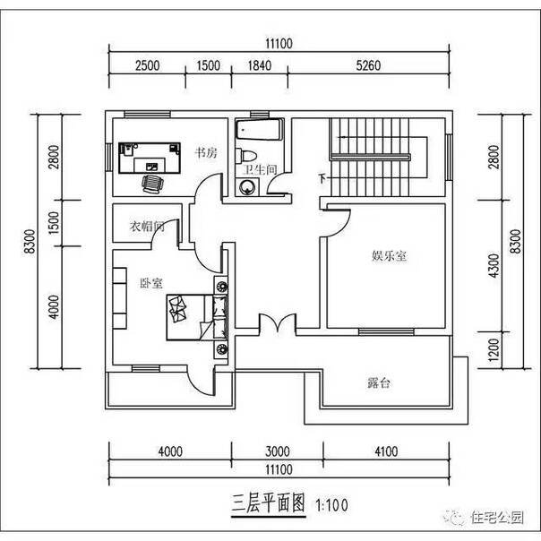 11x8米农村3层别墅设计,落地窗配上双客厅