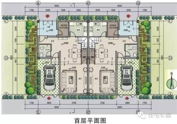 二层平面图:面积不大,实用为主,三间卧室,没有套间.北侧有晾晒