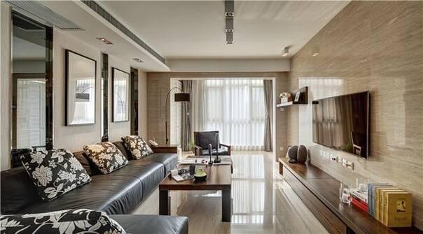 现代简约风格主要以黑白灰三色调为主,而该设计主要以原木色为主,最终