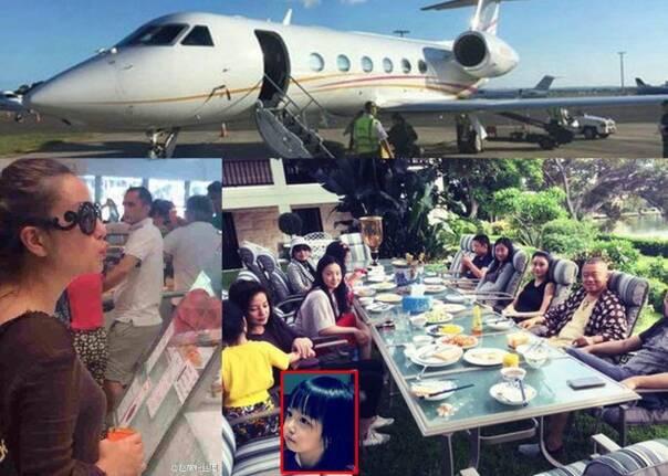 赵薇带女儿坐私人飞机买海鲜