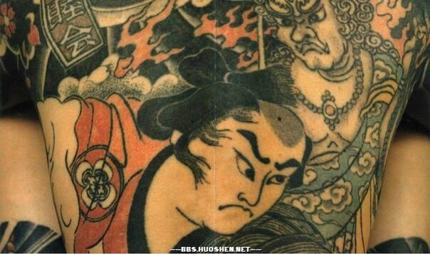 日本海浪樱花纹身