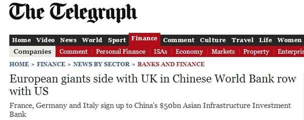 外国的网友们如何添把火? 1、终于达成共识了,中国刚提议时我们就该加入。  2、天堂富国也有潦倒之时:法国、德国、意大利、英国申请加入中国的亚投行,美国政府再遭打击。  3、人民币才真的称得上是钱,美元跟厕纸一样,靠杀戮支撑地位,人民则靠黄金储备支持。  4、加拿大网友很激动:我的天,或许加拿大也该加入亚投行啦?  5、甚至有人以为,普京消失期间,跑到英国找乔治奥斯博恩玩,顺便商量下加入亚投行.