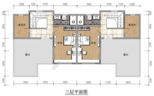 新农村实用自建房双拼户型 24米X11米 户型效果平面图