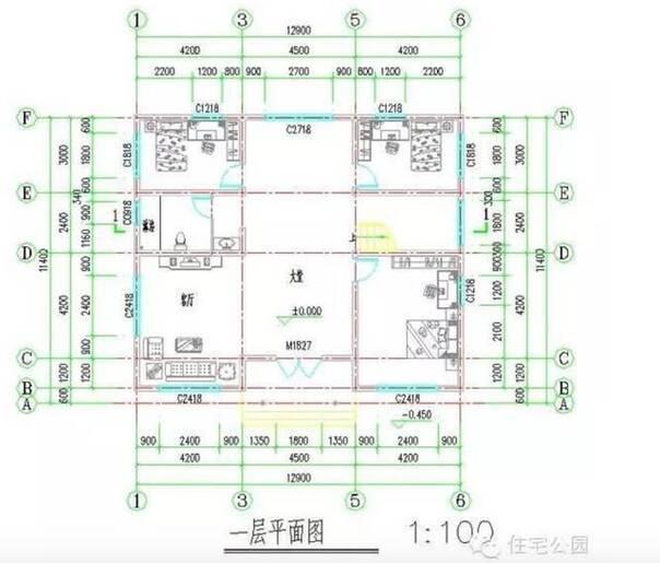 新农村自建房13x11米 有堂屋无厨房 含平面图