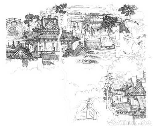 由这些绘画作品中可以领略到傅先生对于中国古建筑的深入研究以及其
