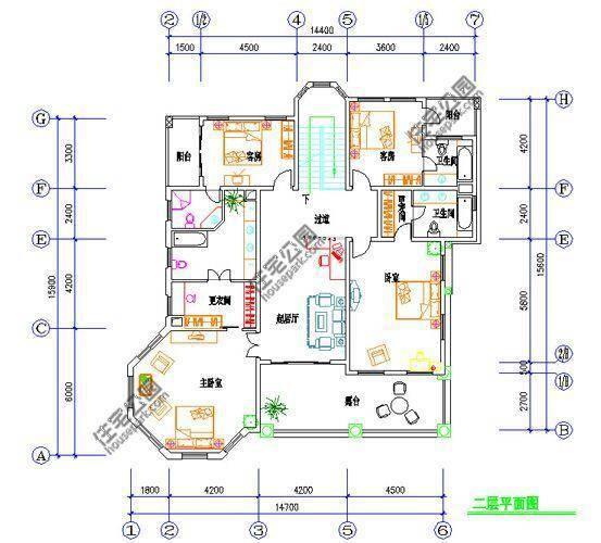 新农村自建房2层户型 14米x16米