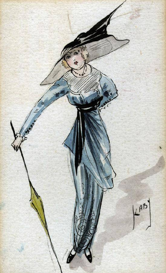 1913年,当年的女性裙装设计手稿中,出现造型全新的铅笔裙.