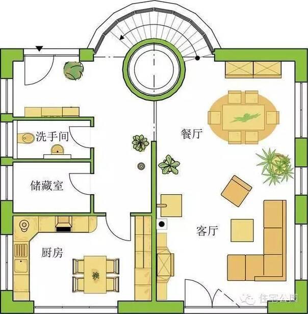 户型1:坡屋顶带太阳能光伏发电,2层户型  室内装修