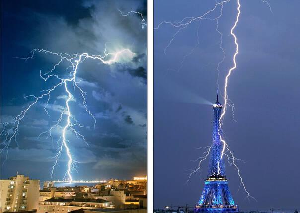 实拍闪电击中全球地标建筑震撼瞬间