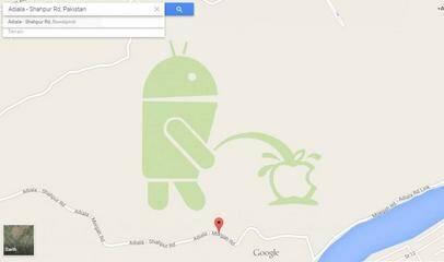 谷歌地图上安卓机器人向苹果logo撒尿图片