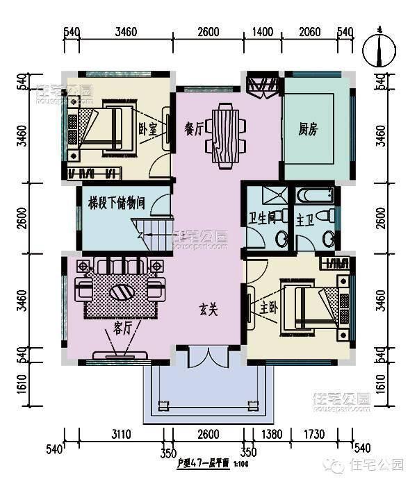 新农村自建房2层别墅 12米x10米 含平面图3d效果图