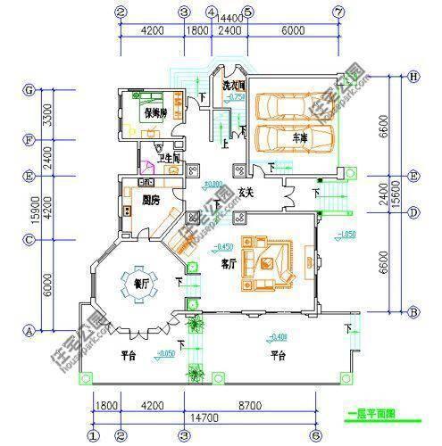 新农村自建房2层户型 14米x16米 -一层平面图:平面图与效果图需旋转90
