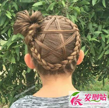 儿童发型:五角星编发