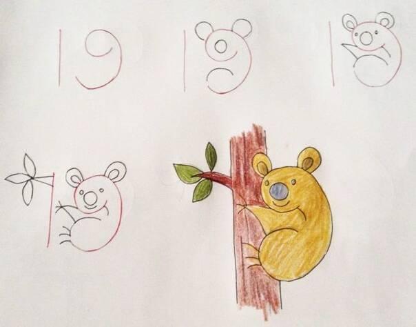 住熊孩子的简笔画