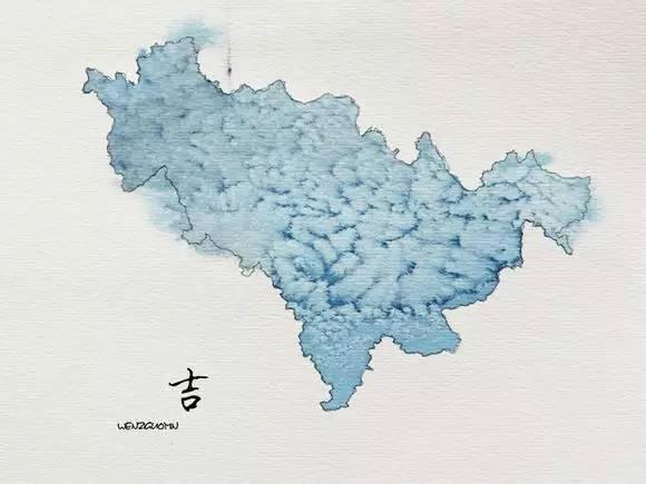 中国地图水墨画