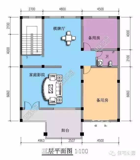 农村自建房连排户型14×12米设计图