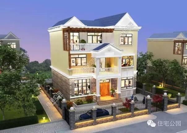 农村自建房连排户型14×12米设计图 全景 平面