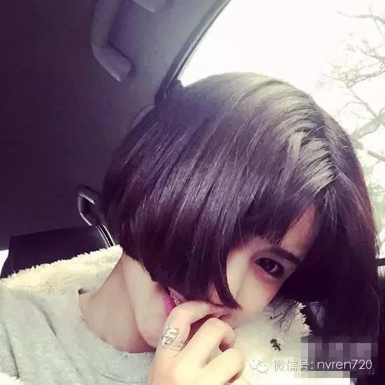 简单中分短发发型,短刘海 内扣短发,打造出可爱感,这样一款略二次元
