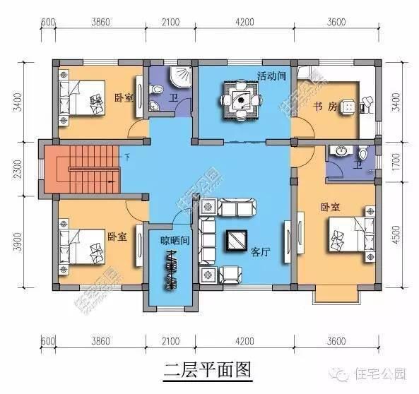 新农村自建房占地14.5米x10米2层户型 含平面图纸