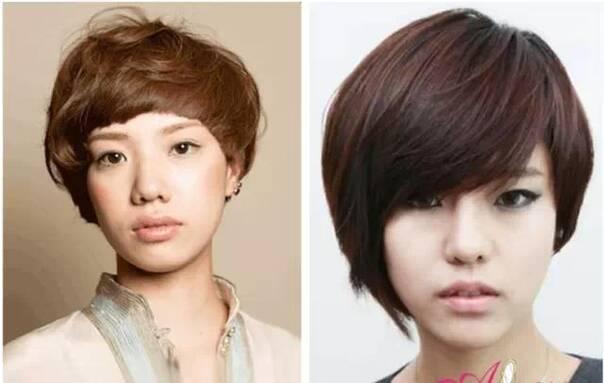 右边的发型更适合长形脸菱形脸,和头尖的女生们,下巴好看的尽量去剪这