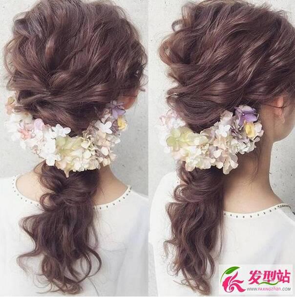 新娘编发发型,中长发也可以编出好看的发型,简单 的点缀显得特别
