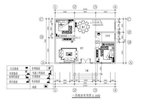 8米长10米自建房平面图,三层,一层有两房一厨一