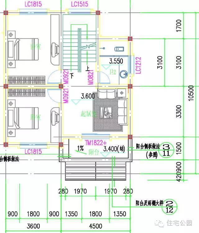 农村自建房2层半户型 8米x11米 带堂前