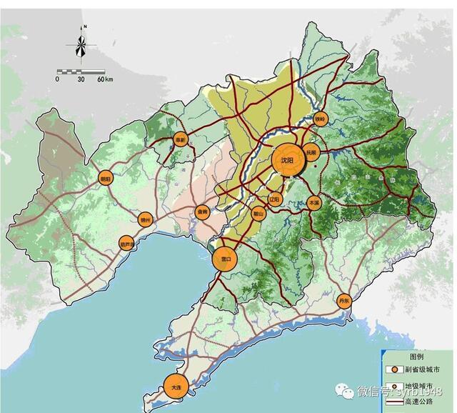 沈阳经济区区域空间格局图