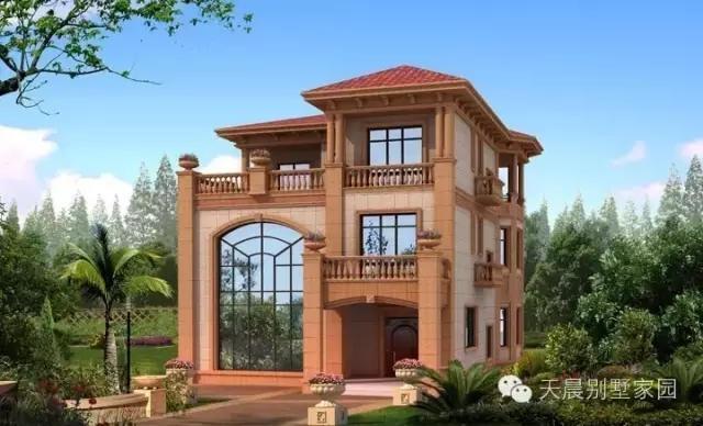 三层别墅设计图:二间卧室,书房,卫生间(2间)  别墅效果图