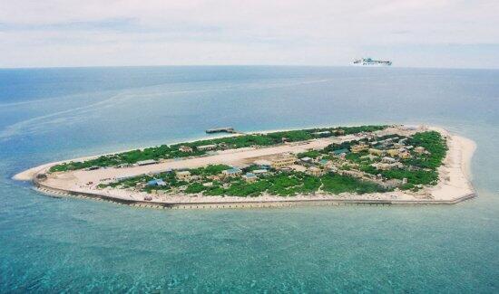 该广告根据美国政府出版的地图申明太平岛是岛,不是礁.