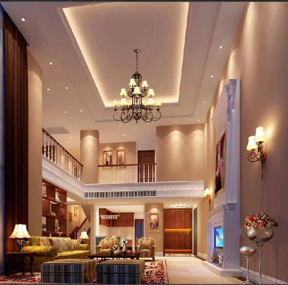 挑空客厅采用简欧式的装修风格,与别墅外观十分搭调.