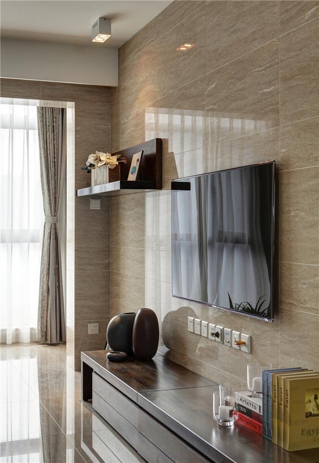 典黑白灰现代简约风格,客厅瓷砖上墙效果真不错