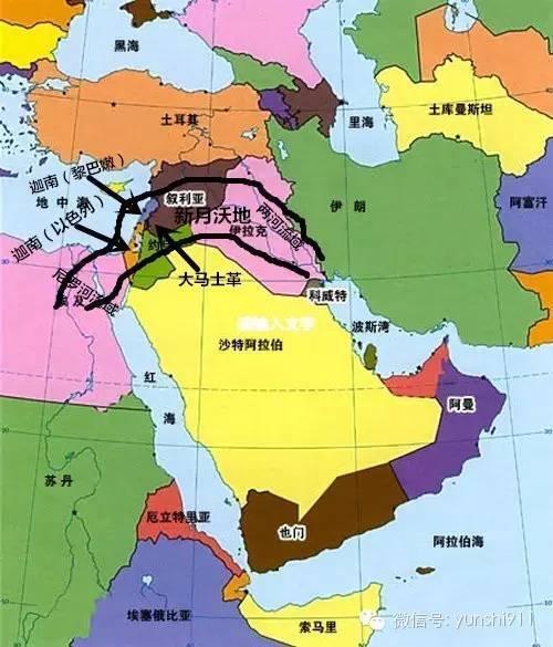 与南北向的小亚细亚半岛——阿拉伯半岛地缘通道的交汇处,从这里出发