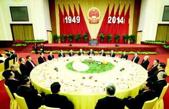 9月30日,中国国务院在北京人民大会堂举行国庆招待会,热烈庆祝中华图片