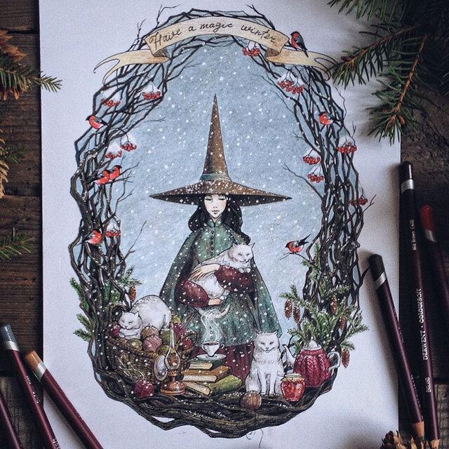 彩色铅笔画出的童话世界