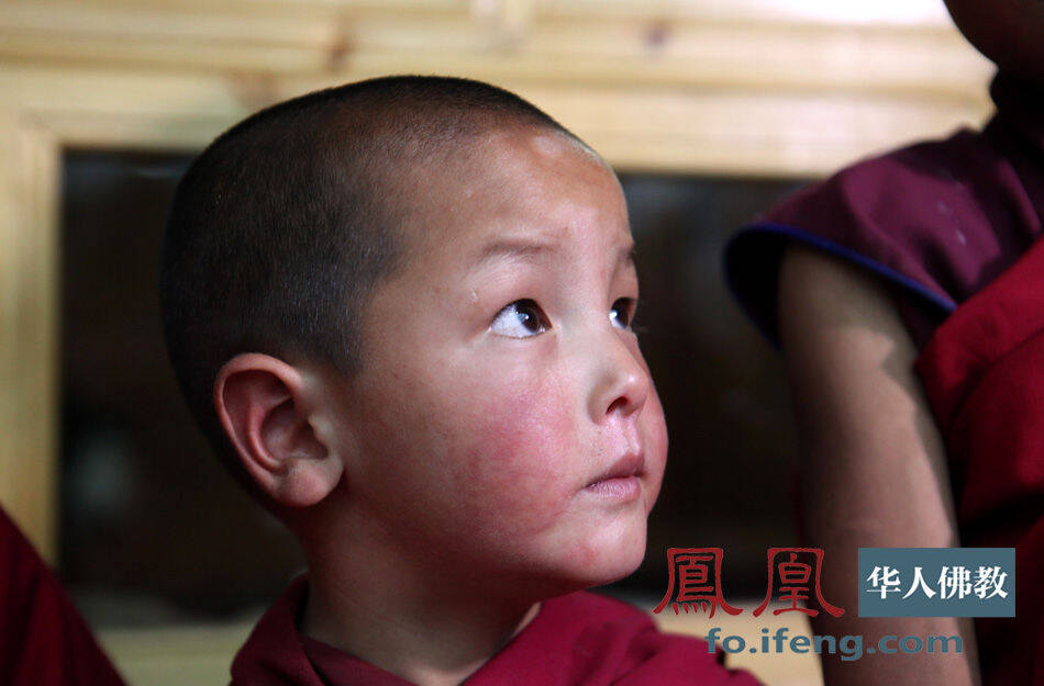 尕楞寺最小的僧人只有6岁,他在久美丹俊喇嘛的院子里学习.(图片
