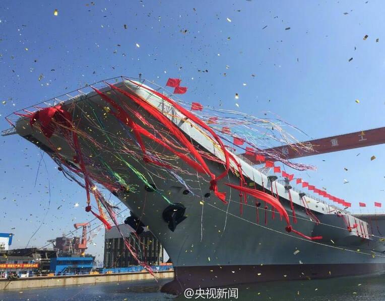 中国首艘国产航母下水现场 - 东江红 - 东江红博客