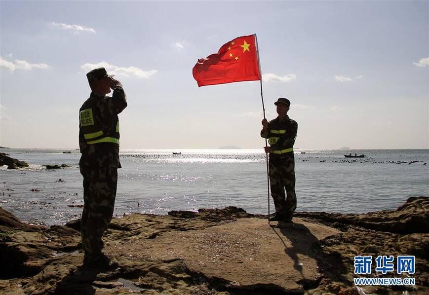 山东烟台砣矶岛北京快乐8技巧:两个人的升旗仪式