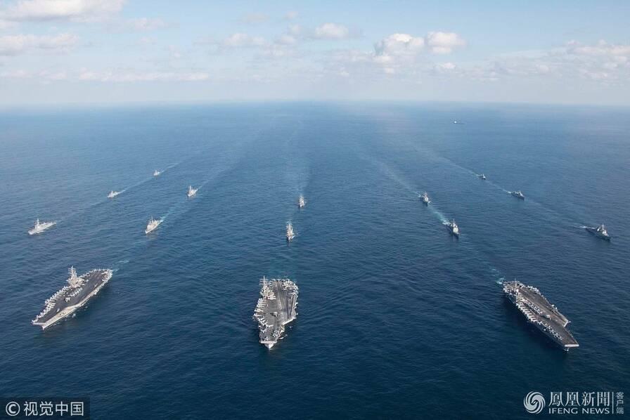 美三艘航母在朝鲜半岛海域与韩军演画面曝光(图)